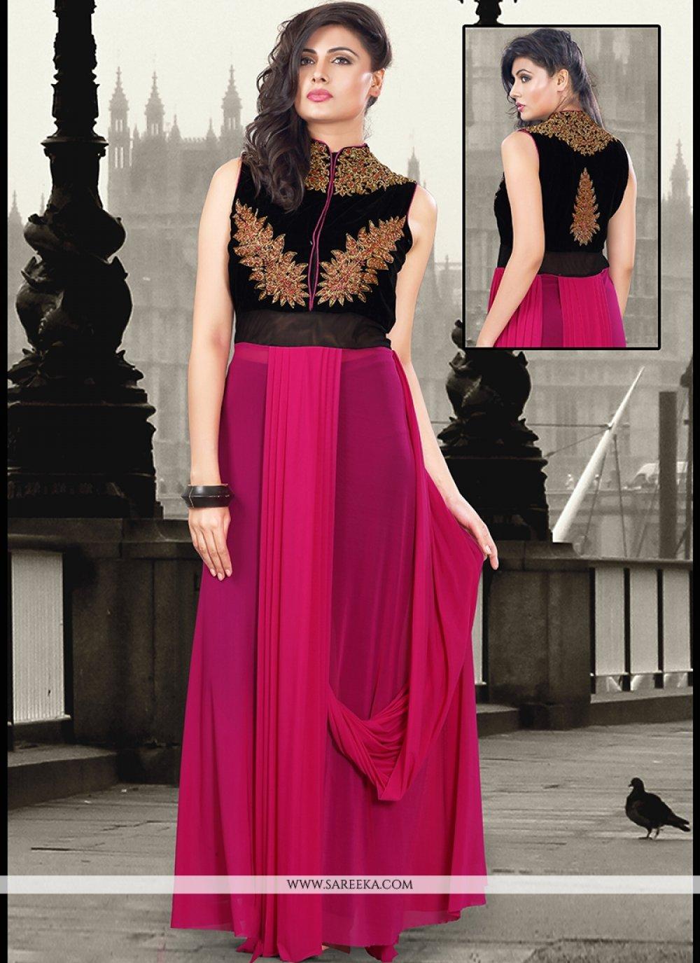 Zari Work Velvet Designer Gown