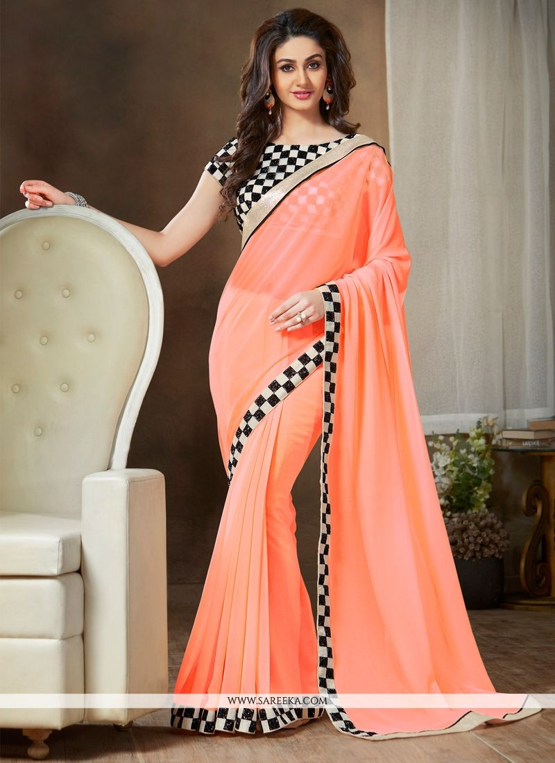 Georgette Peach Casual Saree