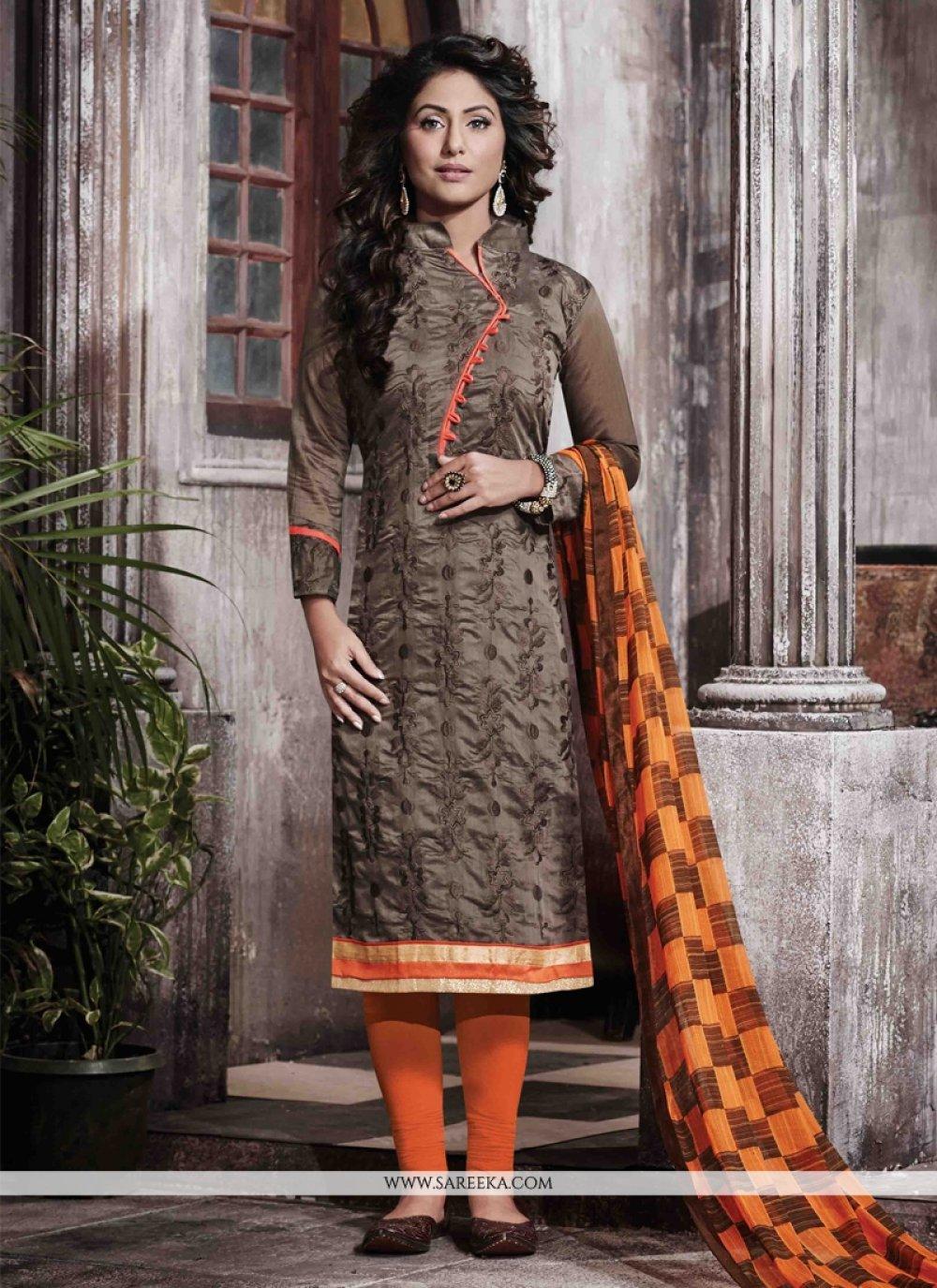 Brown Print Work Chanderi Designer Straight Salwar Kameez