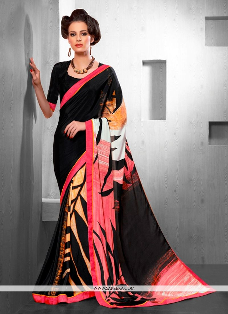 Crepe Silk Print Work Casual Saree