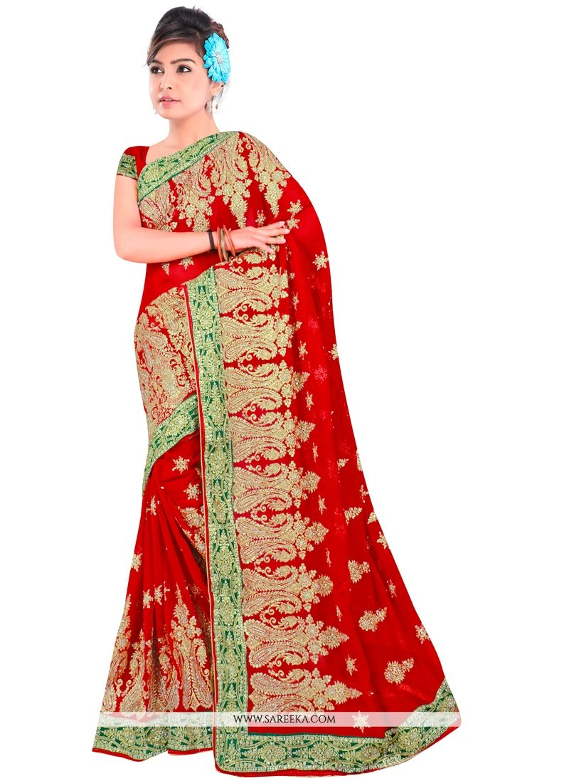 Georgette Red Zari Work Contemporary Style Saree