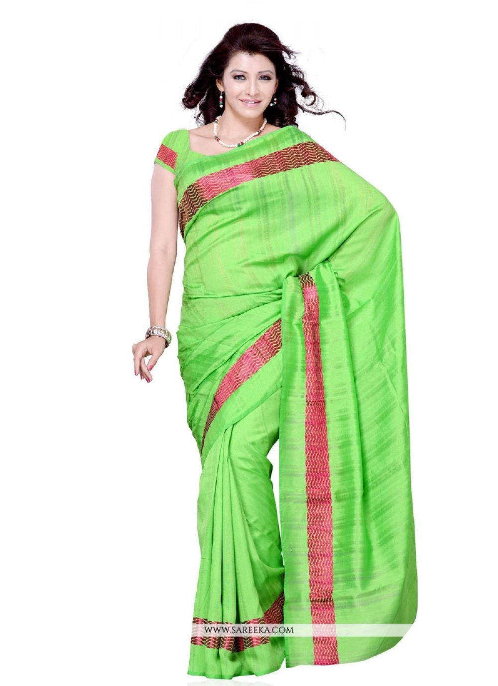 Green Bhagalpuri Silk Casual Saree