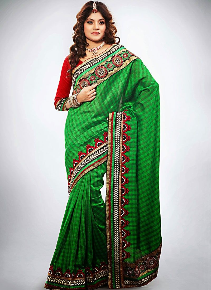 Beauty Green Embroidered Saree