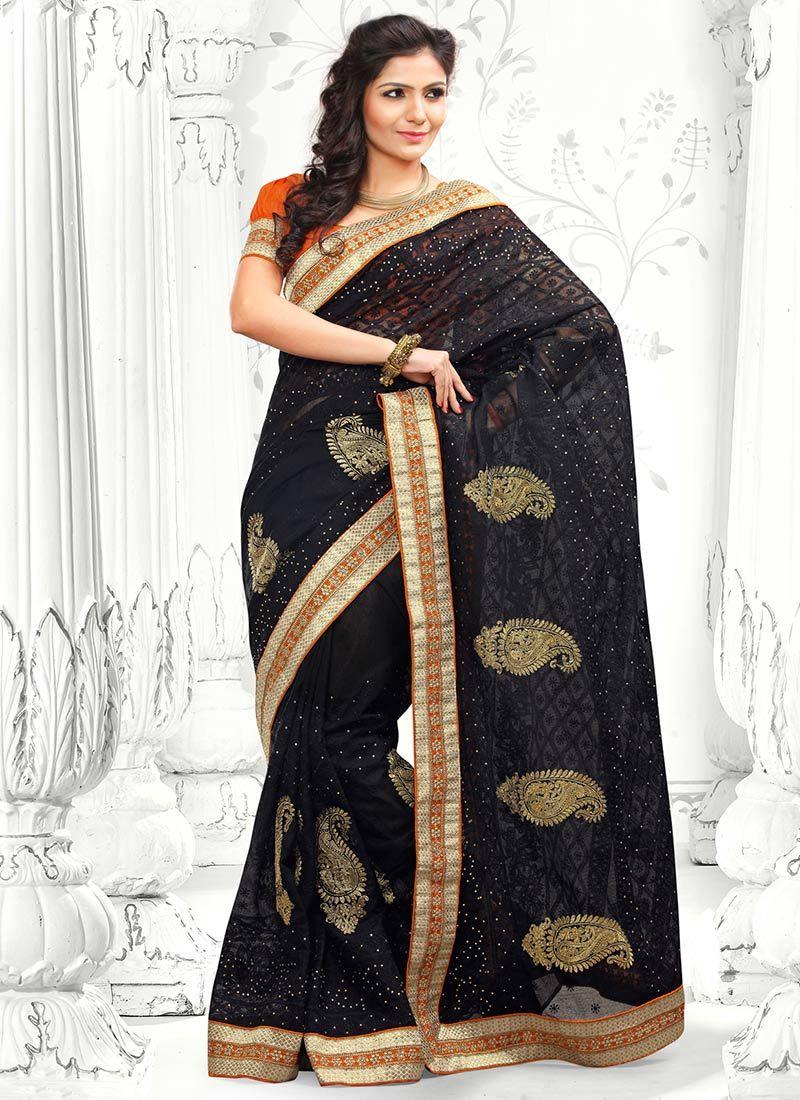 Black Resham Cotton Saree