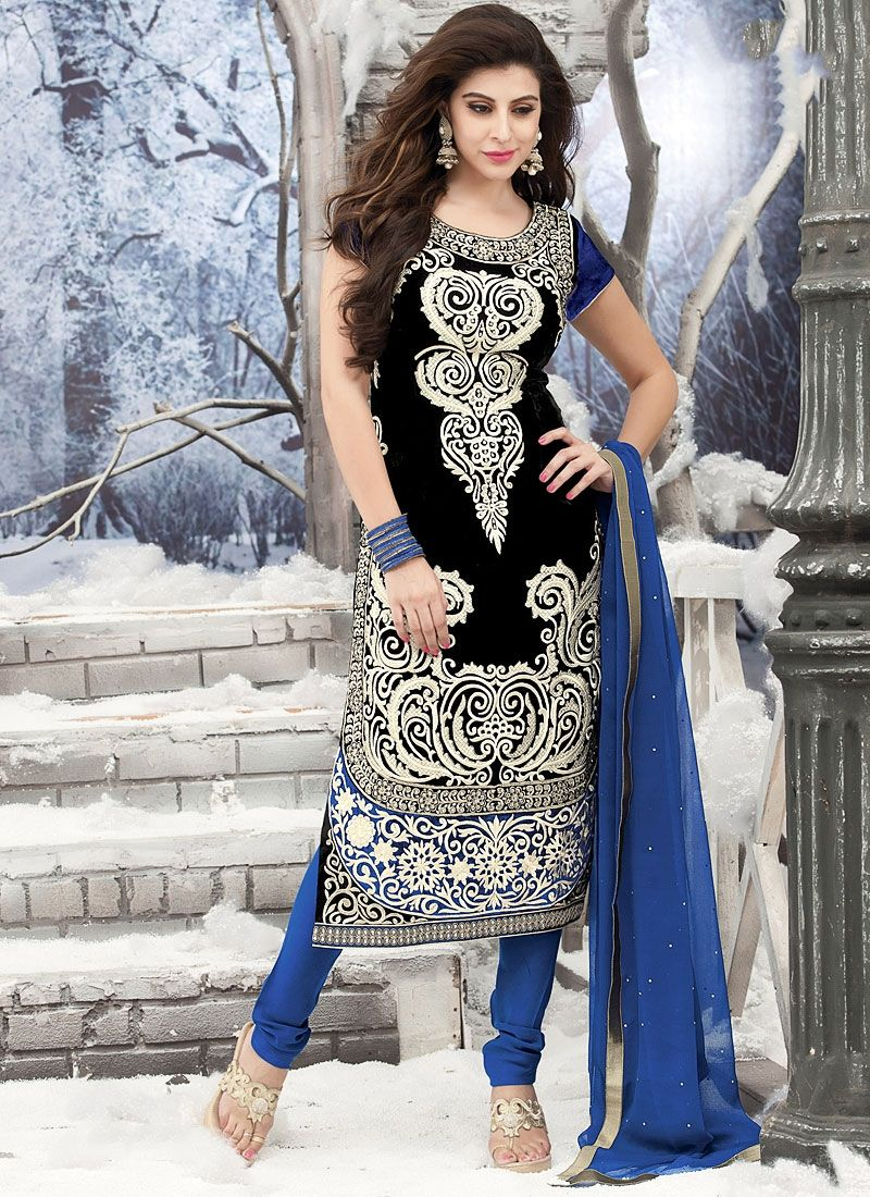 Black Velvet Churidar Suit