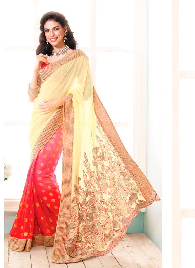 Cream And Pink Jacquard Designer Saree