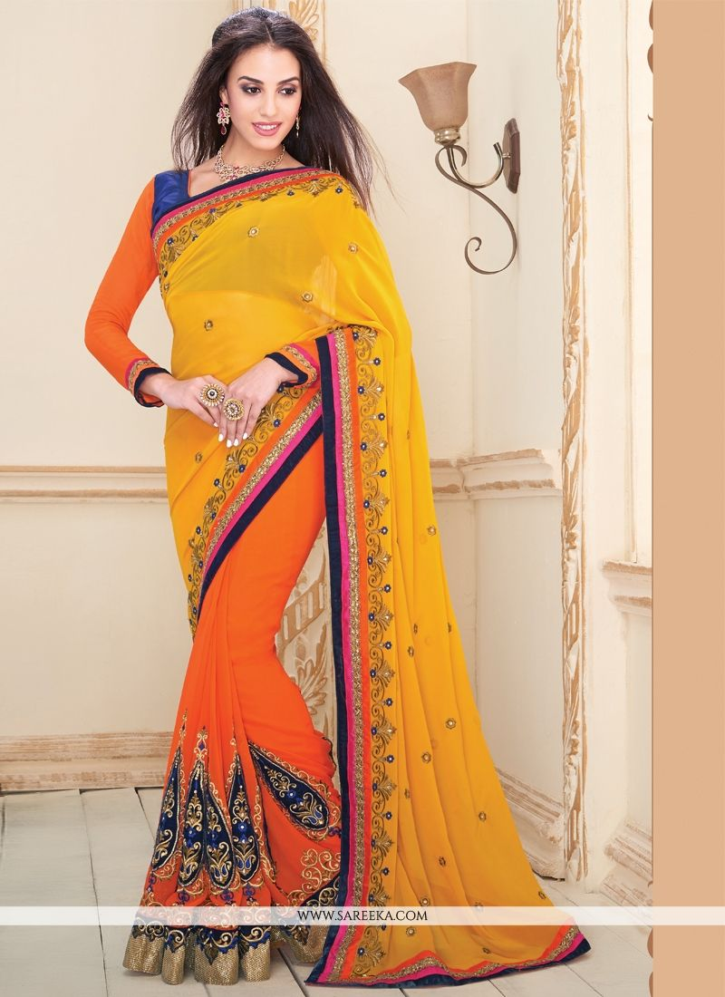 Georgette Yellow and Orange Designer Saree
