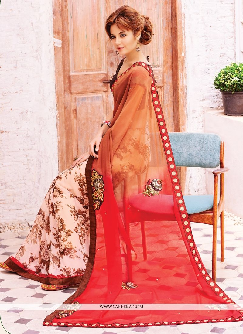 Lace Work Red and Orange Georgette Designer Saree
