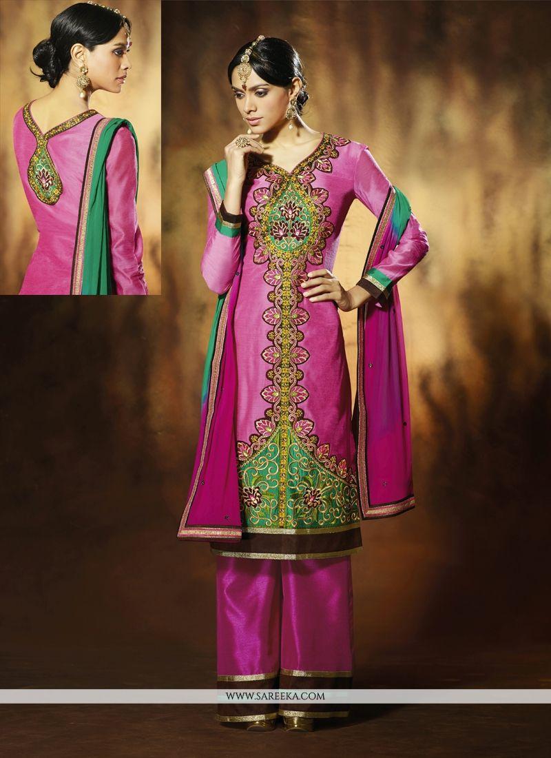 Magenta Art Silk Palazoo Salwar Suit
