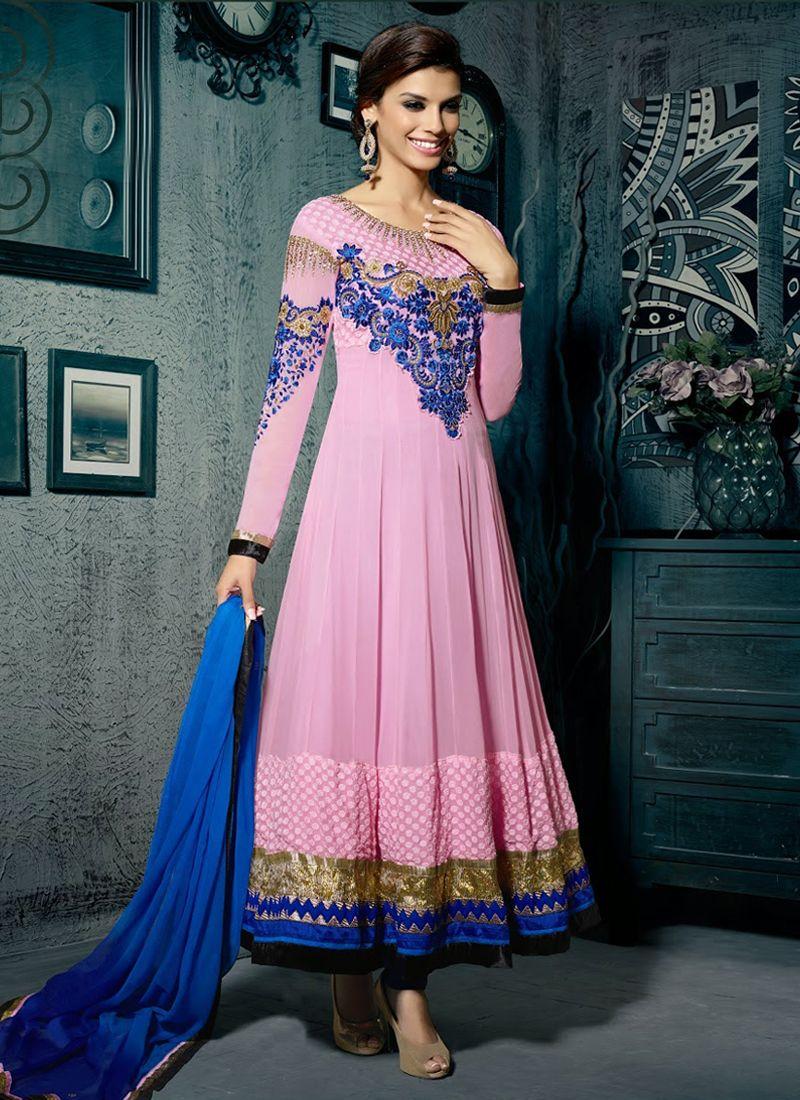 Pink Resham Anarkali Salwar Suit