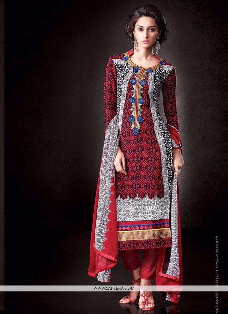 Print Work Faux Crepe Designer Pakistani Suit