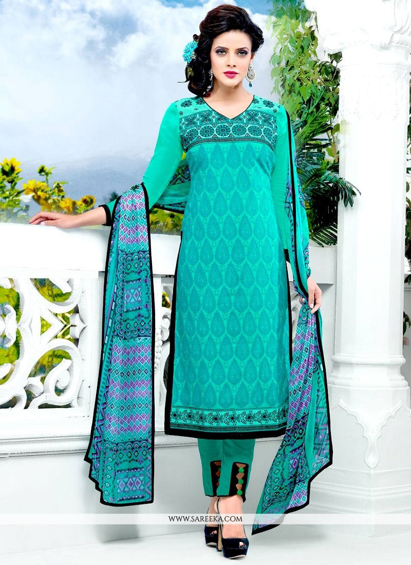 Sea Green Embroidered Work Salwar Suit