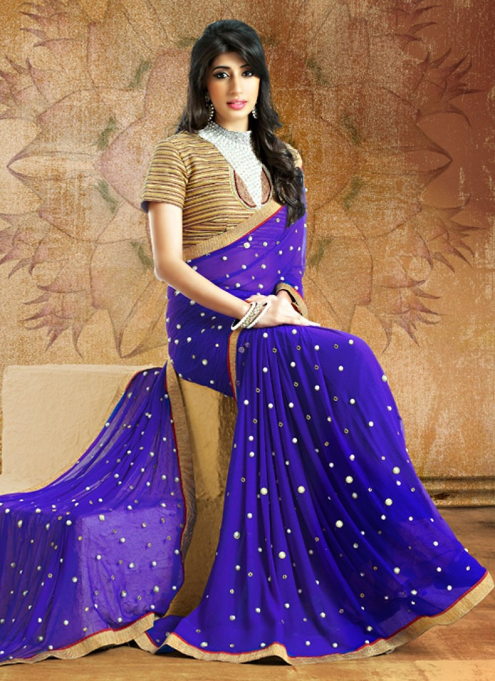 Designer Beige And Blue Printed Party Wear Saree