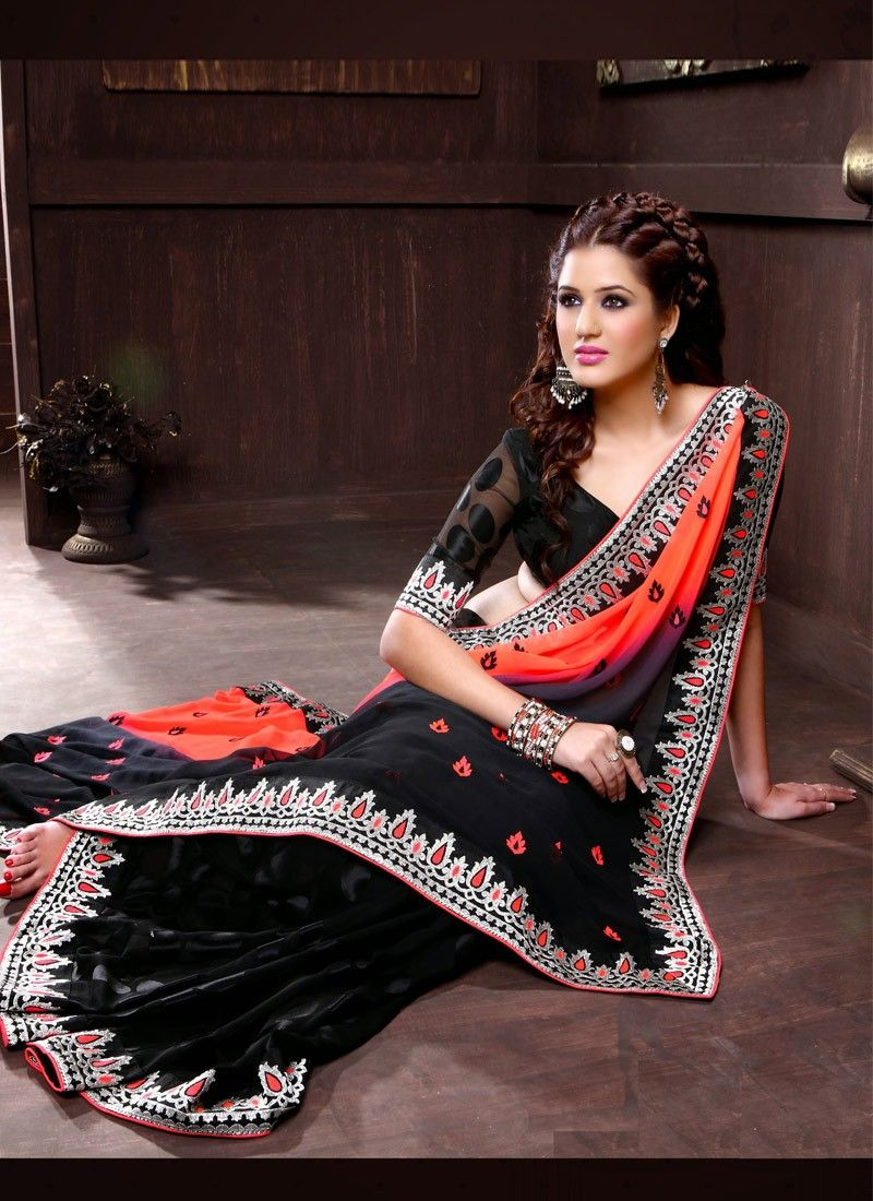 Designer Faux Georgette Orange And Black Saree