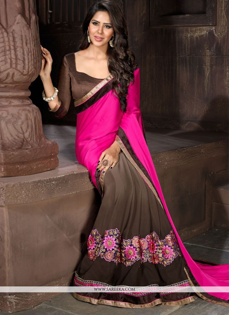 Faux Chiffon Brown and Hot Pink Designer Saree