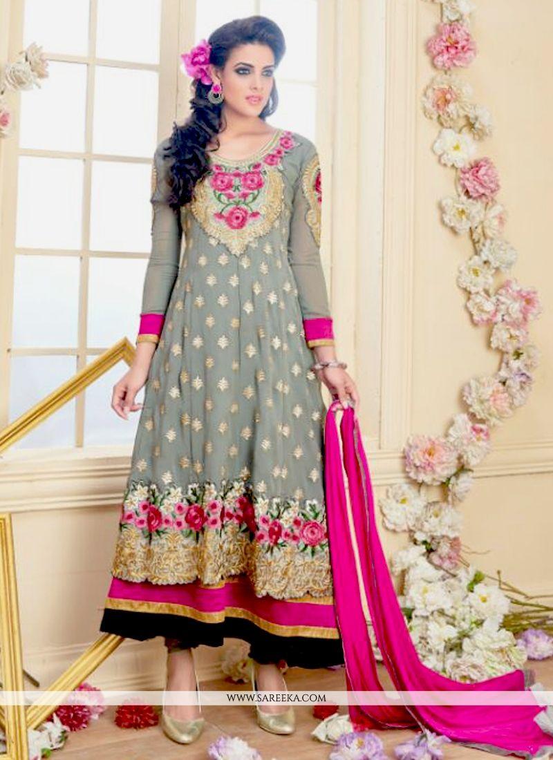 Grey Zari Work Georgette Anarkali Salwar Suit