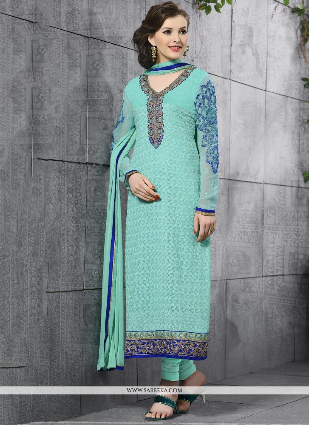 Lace Work Turquoise Churidar Salwar Suit