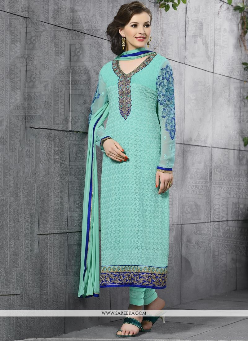 Lace Work Turquoise Churidar Salwar Suit