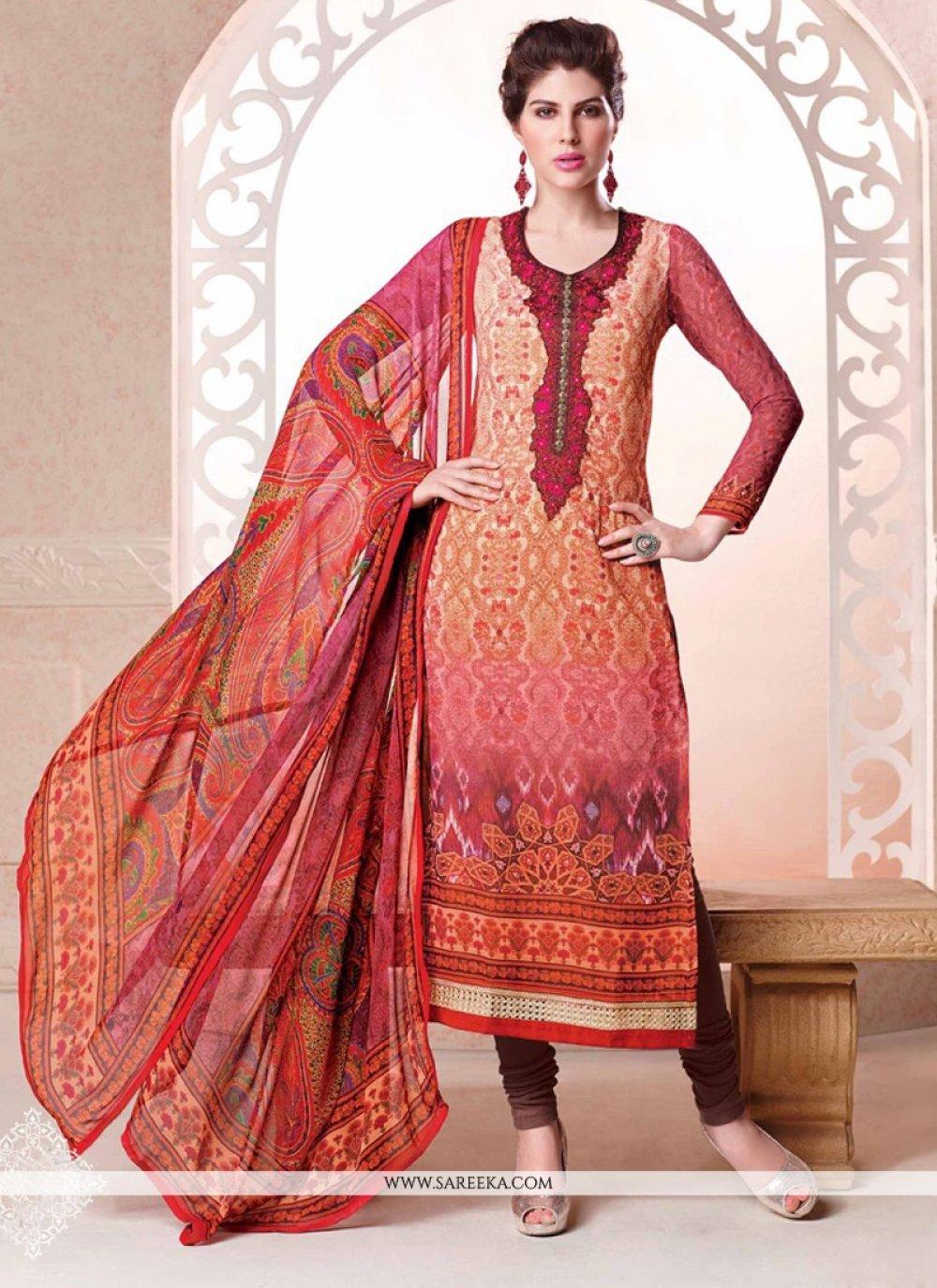 Multi Colour Digital Print Work Churidar Salwar Suit