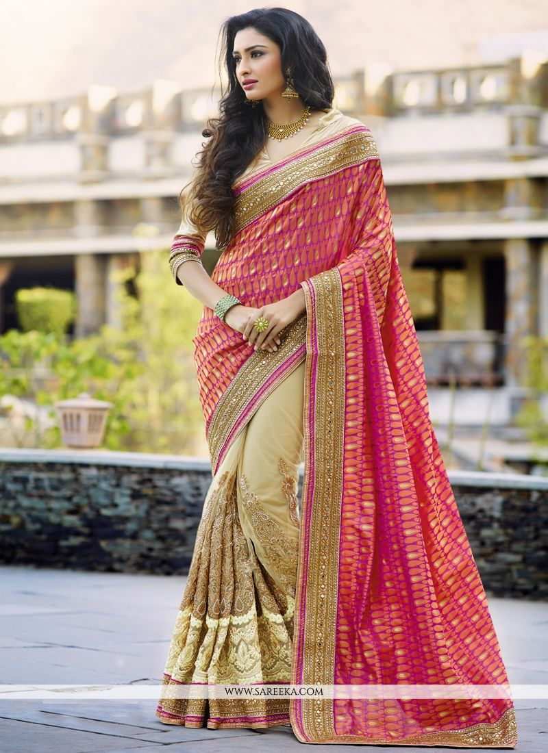 Net Hot Pink and Beige Designer Half N Half saree