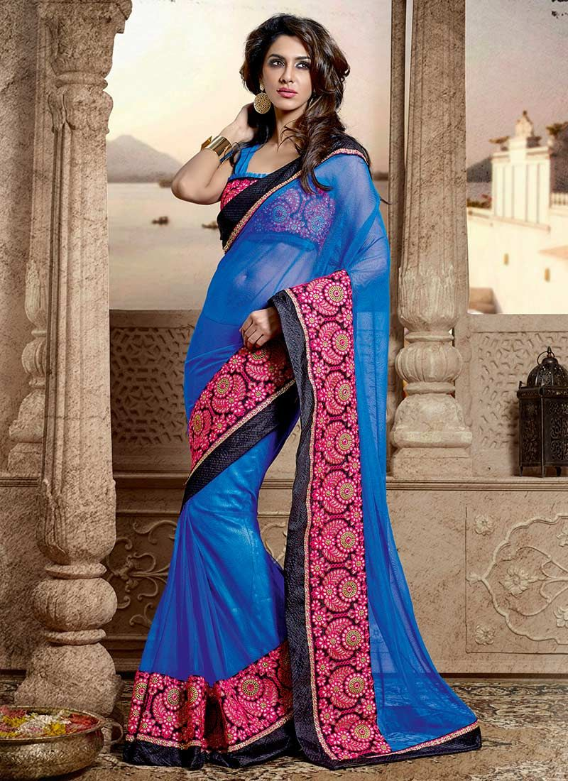 Devine Blue Embroidered Net Saree