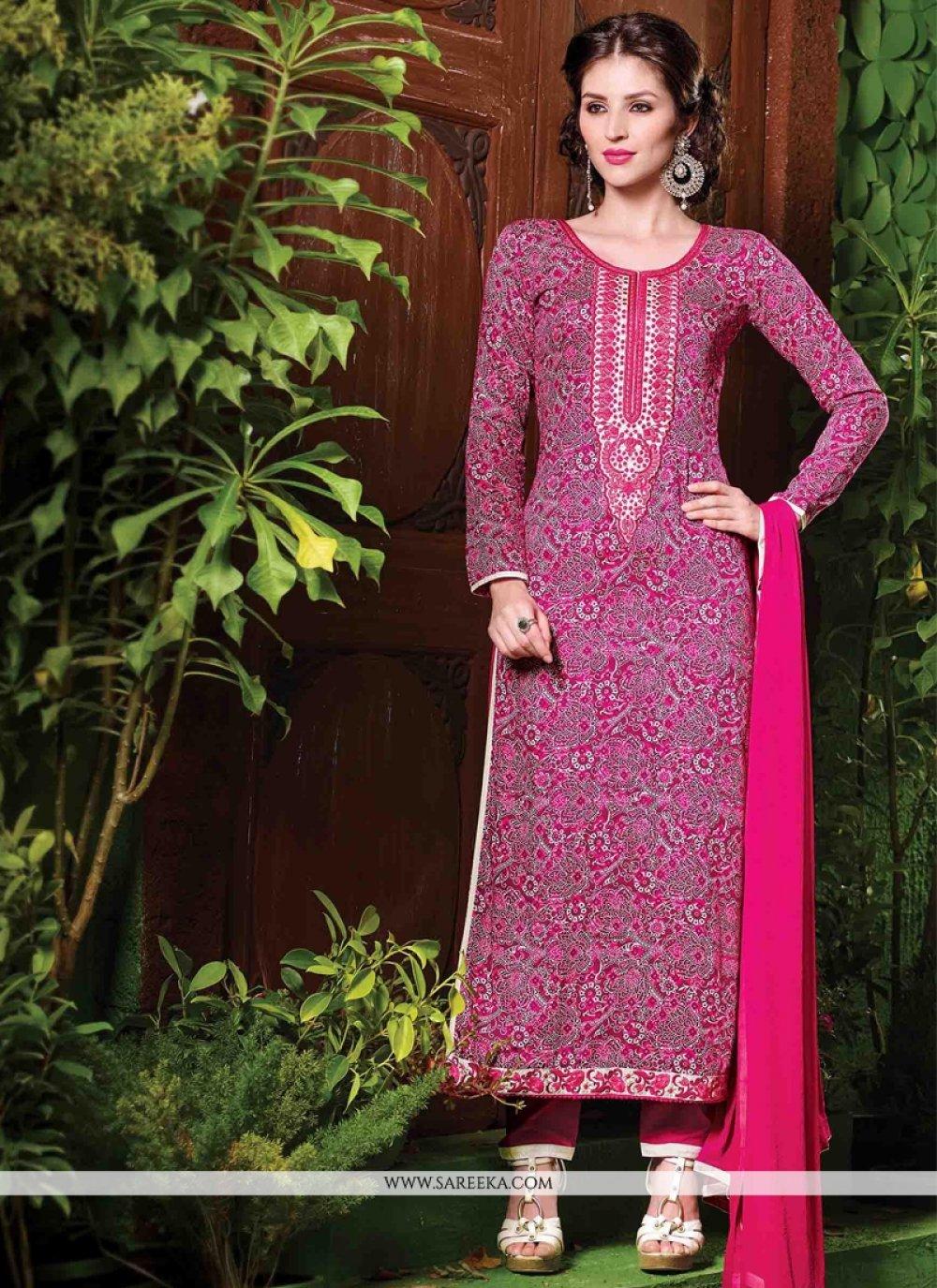 Embroidered Work Cotton   Magenta Salwar Suit