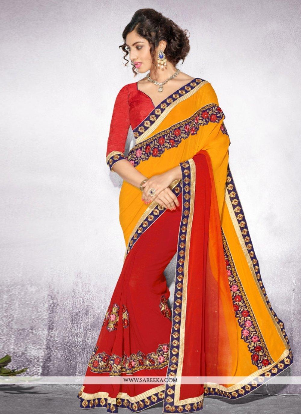 Embroidered Work Orange Georgette Designer Saree