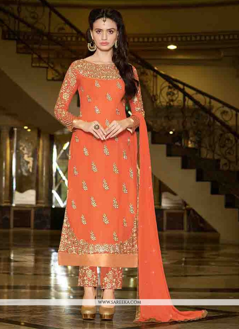 Georgette Orange Designer Straight Suit