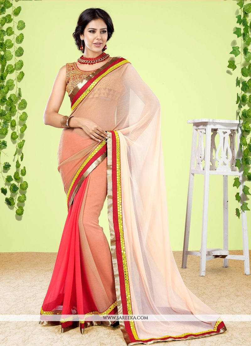 Multi Colour Faux Chiffon Designer Half N Half saree