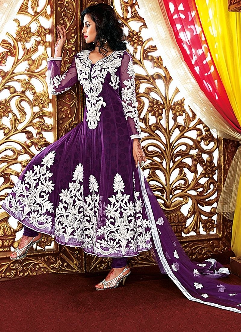 Purple Resham Work Georgette Anarkali Suit