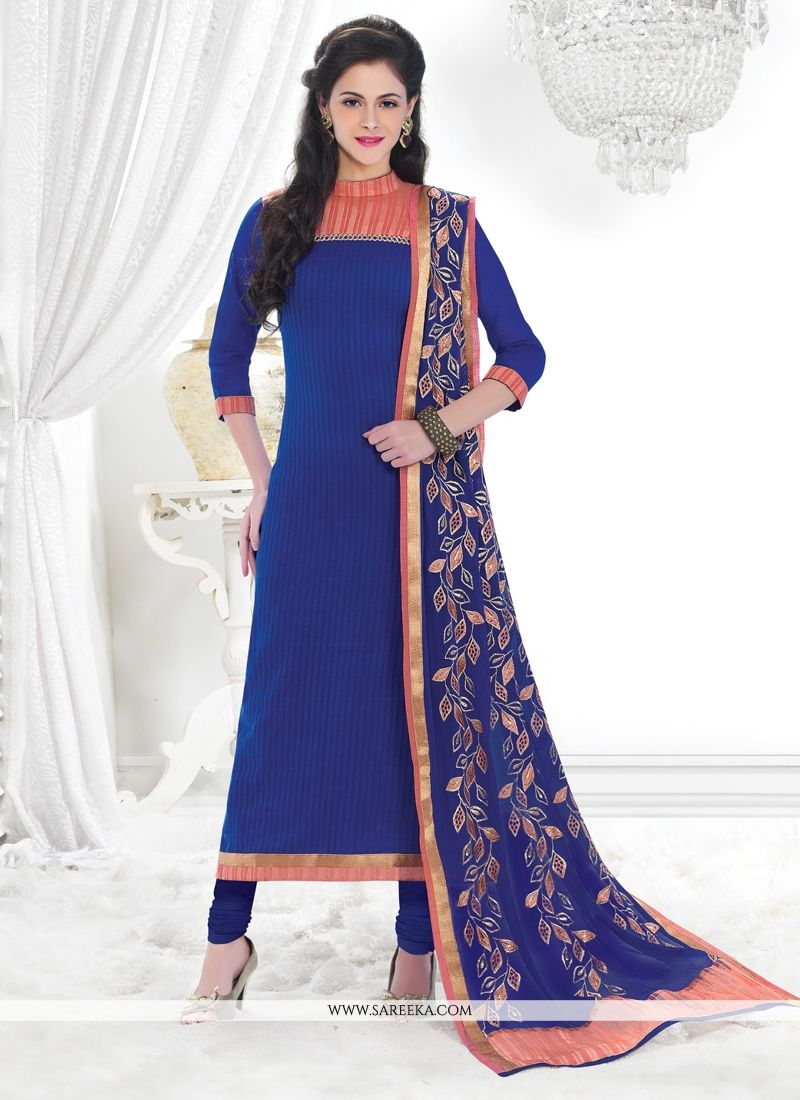 Chanderi Lace Work Churidar Designer Suit