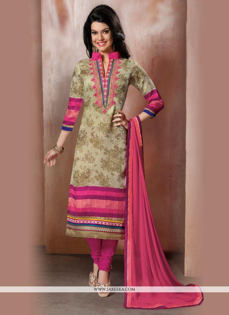 Embroidered Work Raw Silk Churidar Designer Suit