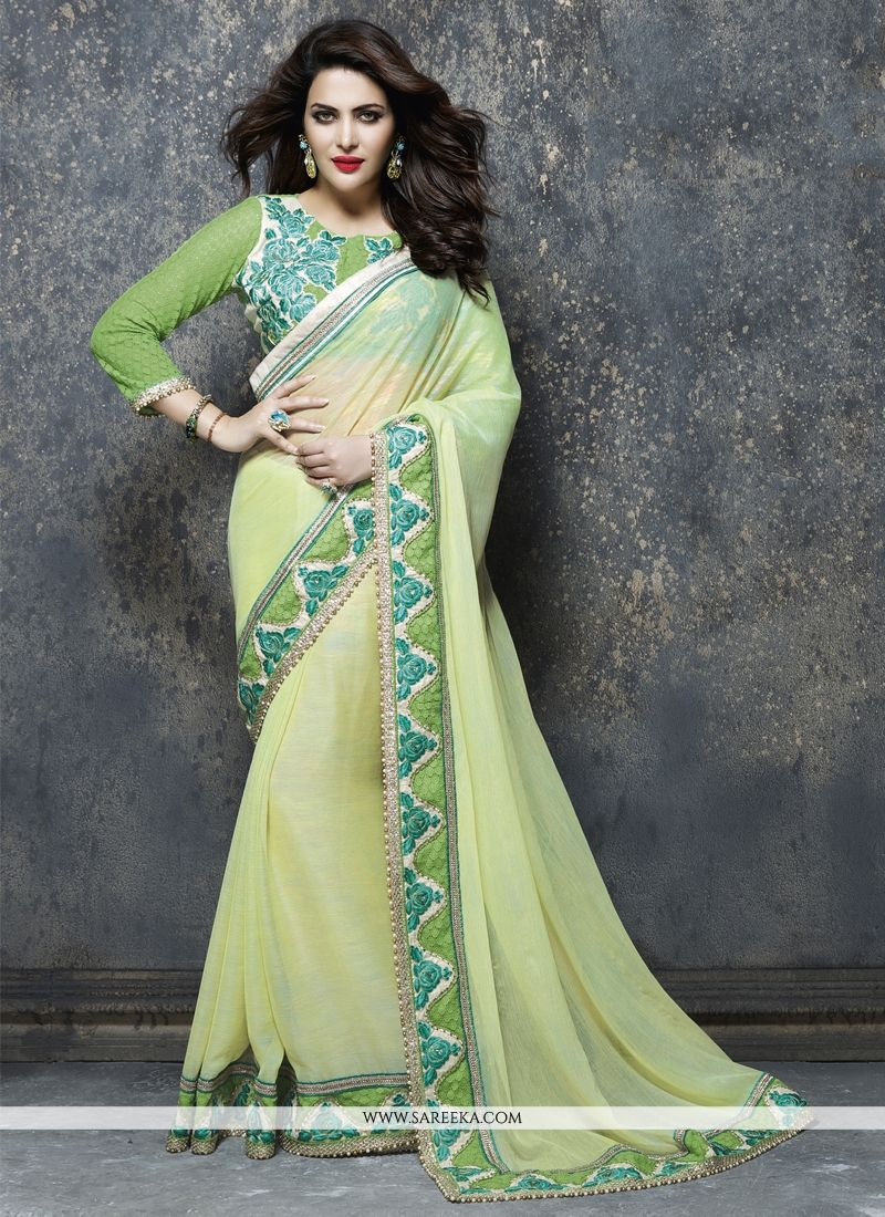 Faux Chiffon Green Designer Saree