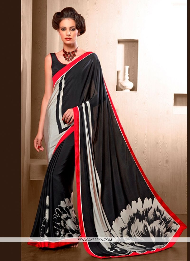 Print Work Black Casual Saree