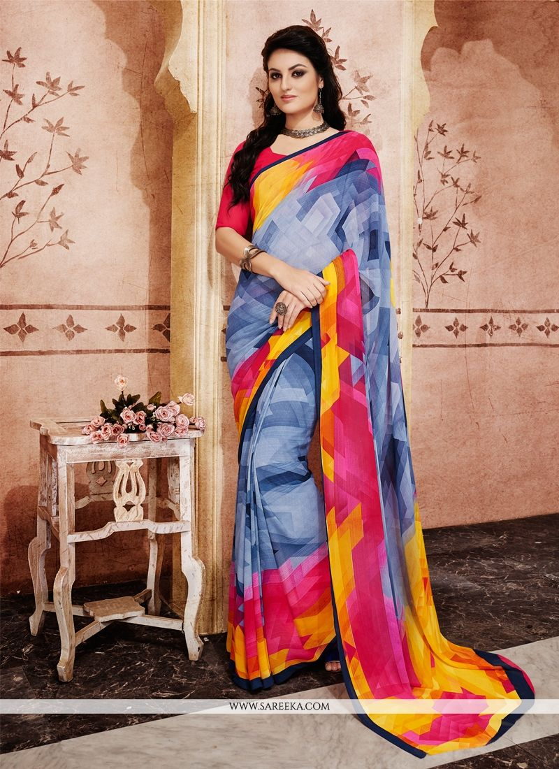 Blue Print Work Georgette Casual Saree