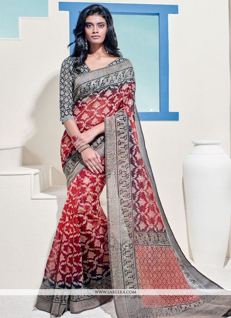 Brasso Georgette Red Lace Work Casual Saree