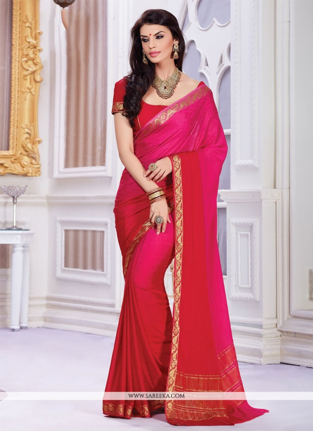 Crepe Jacquard Hot Pink and Red Designer Saree