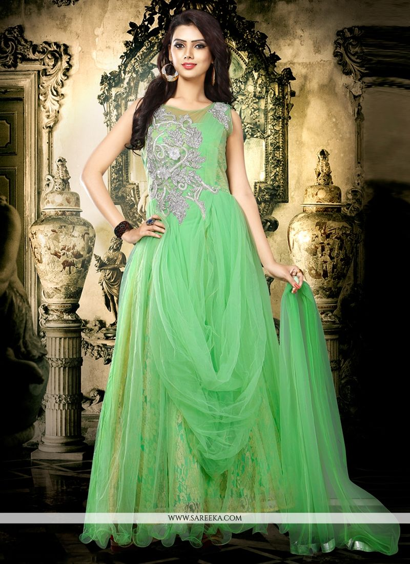 Embroidered Work Net Sea Green Designer Gown