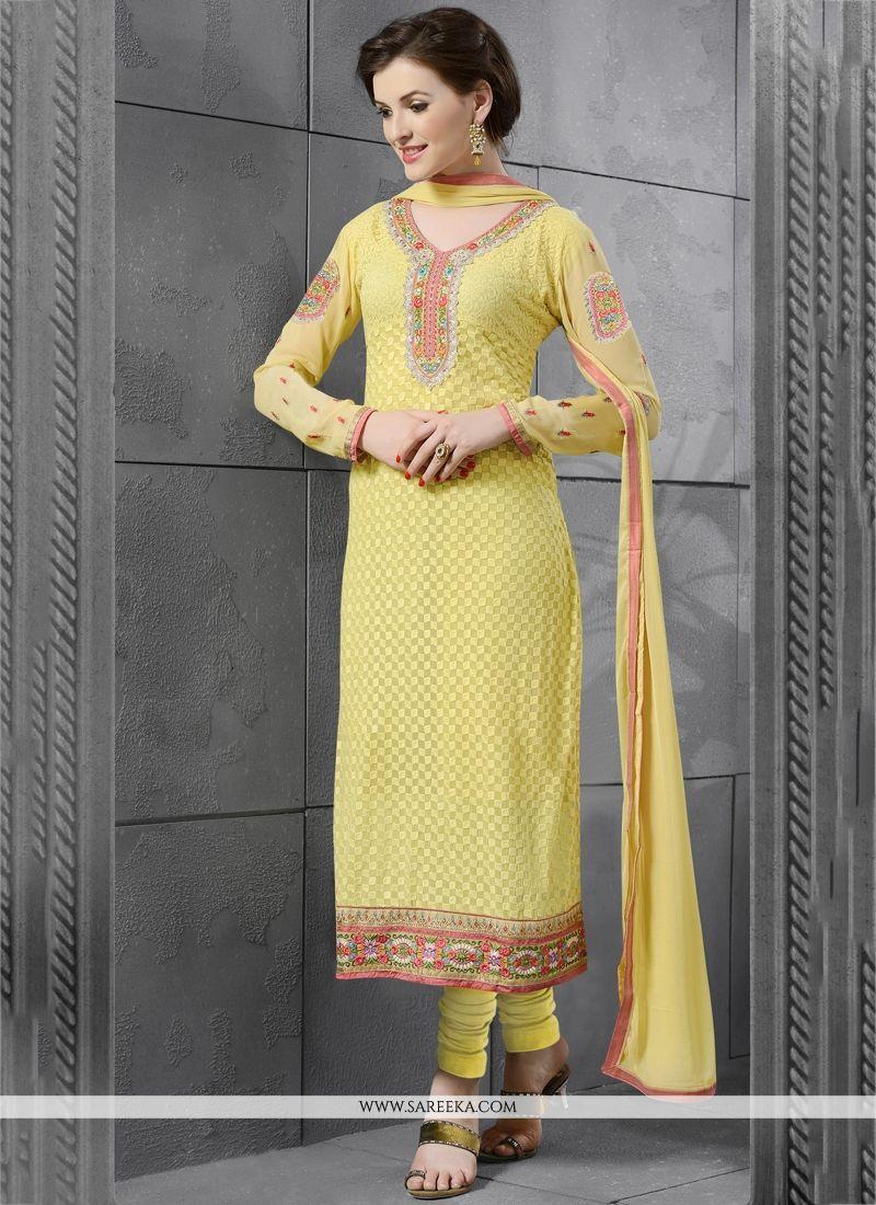 Georgette Yellow Embroidered Work Churidar Salwar Kameez
