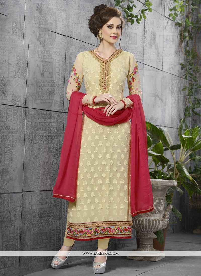 Lace Work Cream Georgette Salwar Suit
