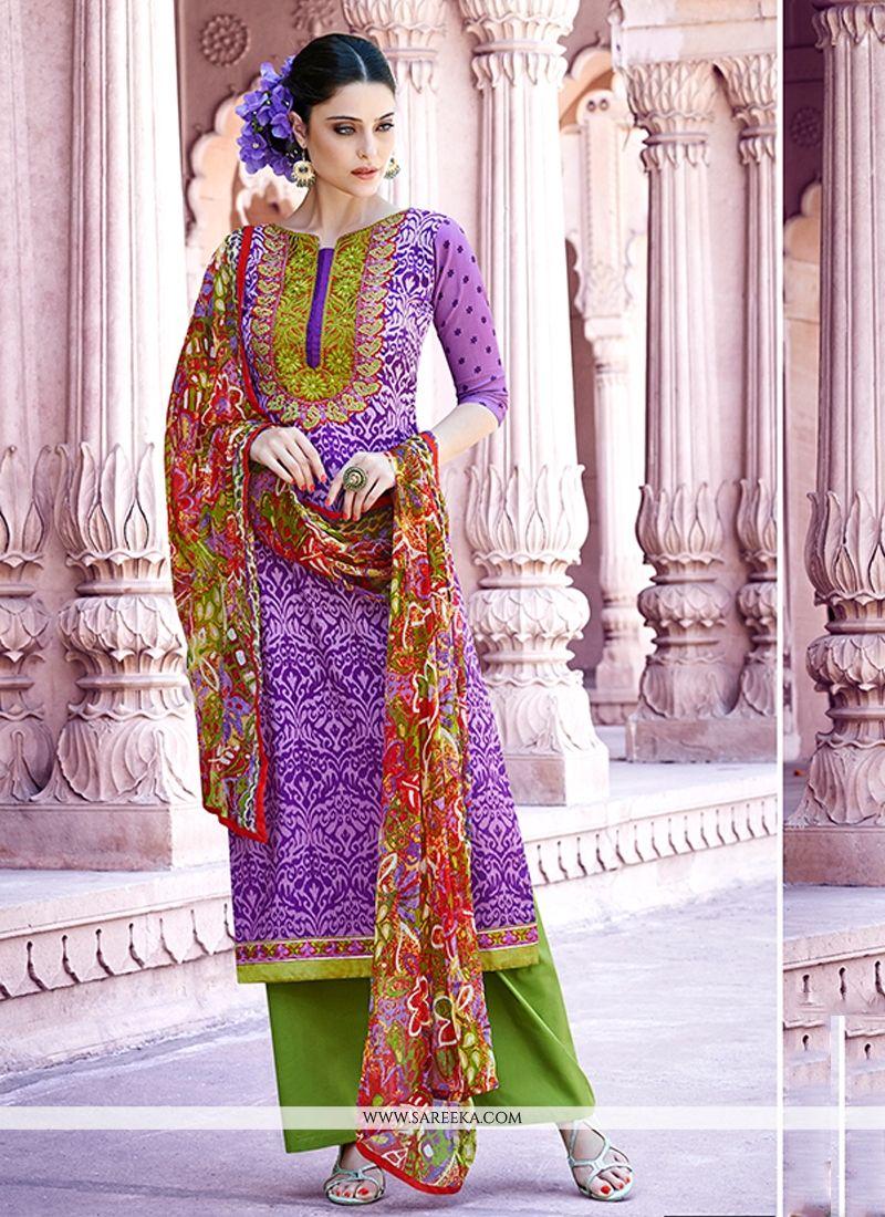 Purple Embroidered Work Designer Pakistani Salwar Suit
