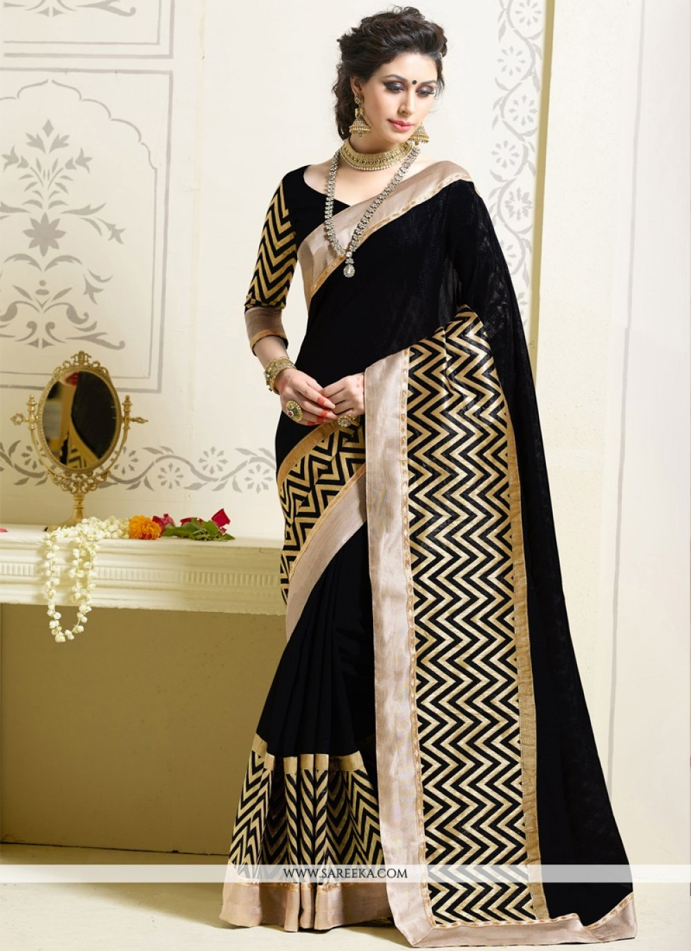 Art Silk Black Designer Saree