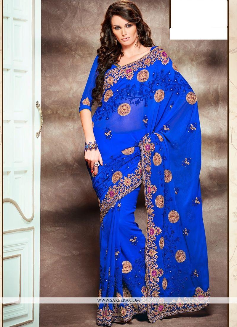 Blue Faux Chiffon Designer Saree