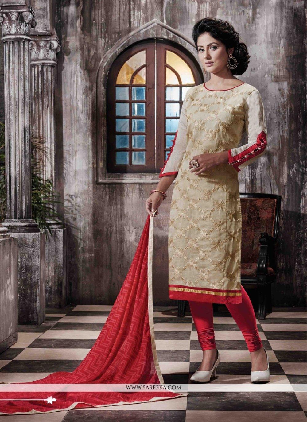 Chanderi Designer Straight Salwar Suit