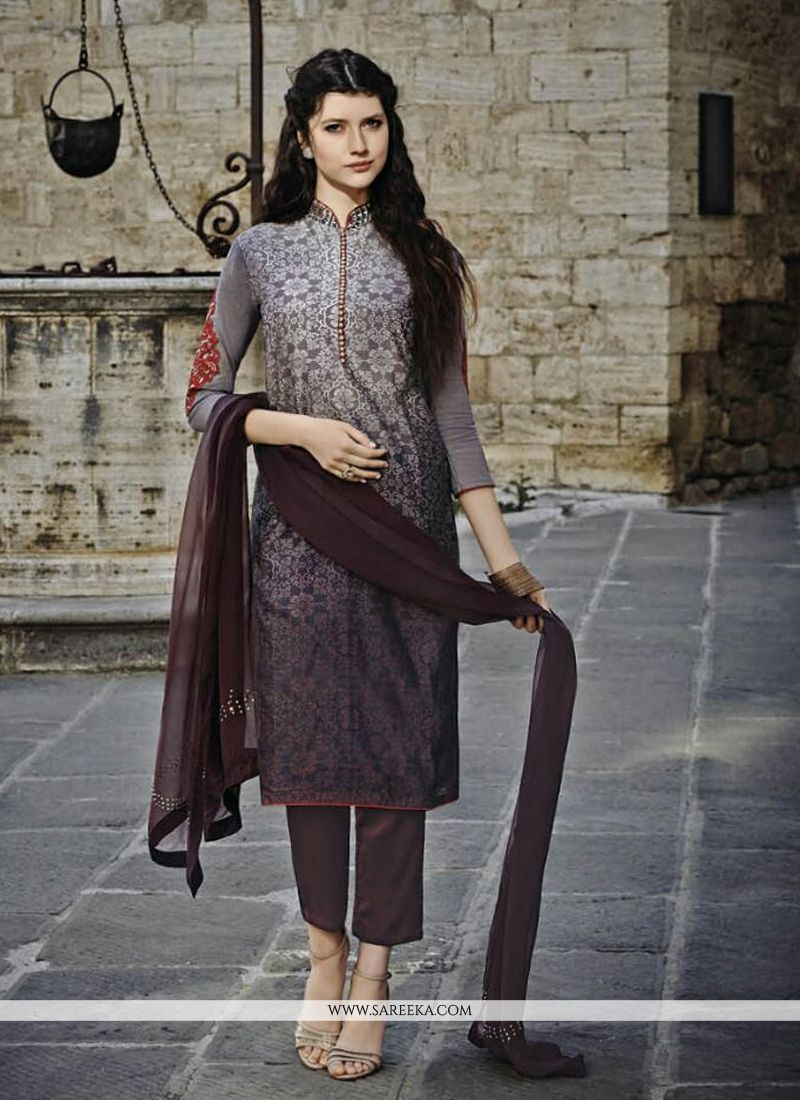 Chanderi Multi Colour Print Work Designer Straight Salwar Suit