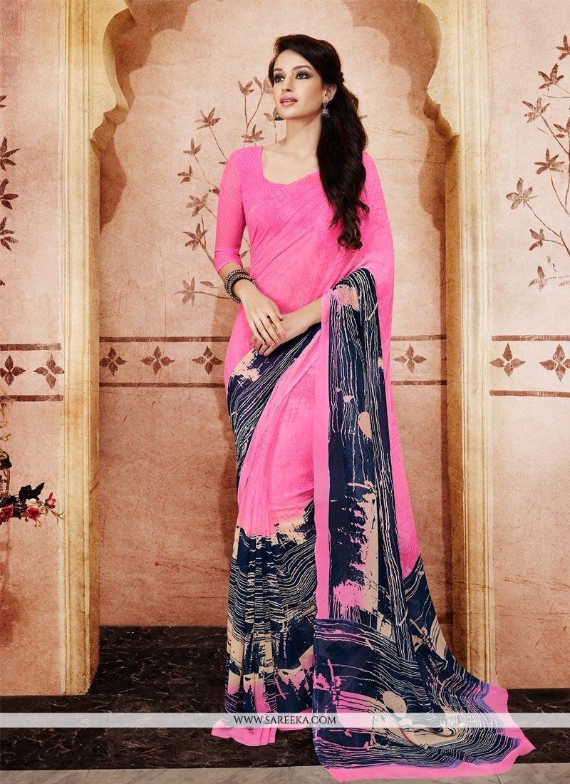 Georgette Hot Pink Casual Saree