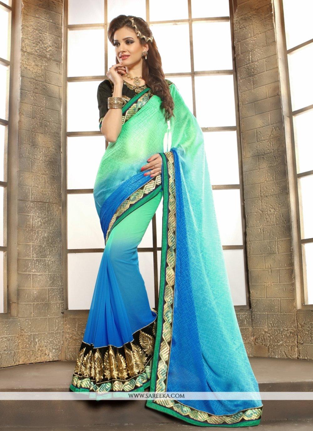 Lace Work Sea Green Designer Saree