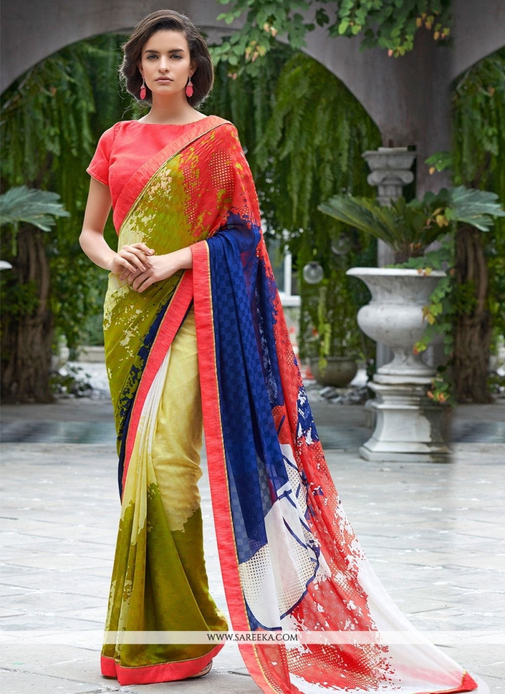 Shimmer Georgette Lace Work Casual Saree