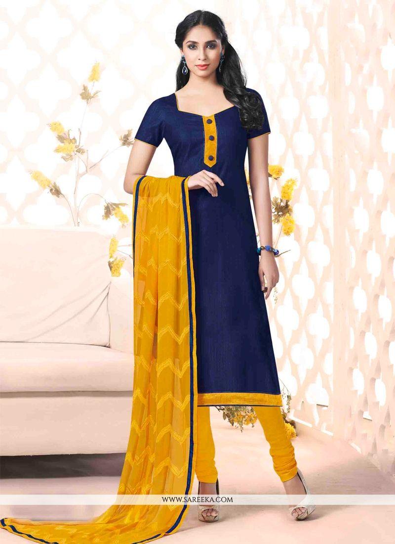 Bhagalpuri Silk Navy Blue Churidar Salwar Kameez