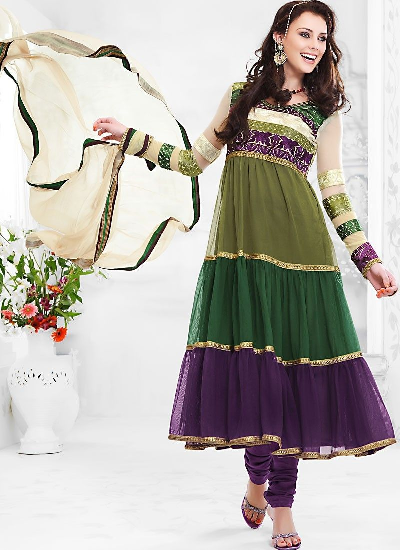 Bluish Purple, Bottle Green & Olive Green Salwar Kameez